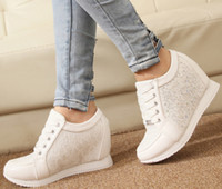 Wholesale Platform Shoes Women Sneakers Running Sport High Quality Shoes Fashion Summer Leather High Top White Wedge Sneaker