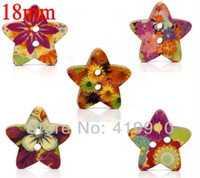 Quilt Accessories Buttons Yes Free shipping - Mixed Star Shape fashion 2 Holes Wood Sewing Buttons Scrapbooking 18mmx17mm, sold per packet of 100 M00267