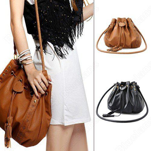 Shoulder Bags Women Lady Pu Leather Bucket Crossbody Messenger ...