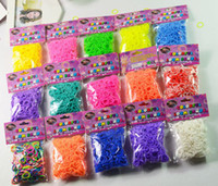 0-12M Multicolor Rubber Wholesale - Colorful Rainbow Loom kit late Rubber band loom Bands bracelet amazing gift children single colors handmade DIY 3600Pcs bands