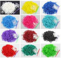 Wholesale Rubber Band Premium Rainbow Color Loom Bands Beautiful Colors Conveniently Separated S and C Clips