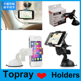 Wholesale 2014 New Universal Windshield Degree Rotating Car Mount Bracket Holder Stand for iPhone Samsung GPS MP4 tablet with retail package