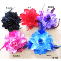 Wholesale Top Quality Cheap Red Black Blue Fuchsia Purple Cocktail Party Feather Hair Accessories Fascinator Clip Flower Women Corsage Brooch