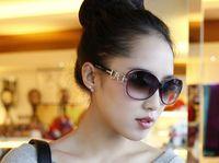 Plastic Fashion Oval Wholesale - Free shipping lady sunglasses new European retro fashion sunglasses 5 colors large frame sunglasses cool elegant fashion