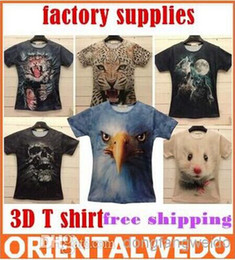 Wholesale Skull Print Shirts Women - Two-side M-XXL FactorySupply women men leopard lion skull animal Funny 3D T shirt tee tiger cat dog wolf 3d top tee top sale