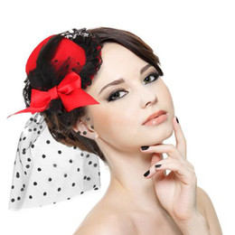 Wholesale Cheap In Stock Fashion Party Cocktail Women Black Purple Red Bow Feather Hair Clip Mini Top Hat Fascinator Lace Beaded Hair Accessories