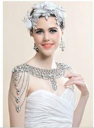 Wholesale 2014 Designer new bride jewelry diamond shoulder chain luxury crystal epaulets necklace Wedding dress accessories yzs168