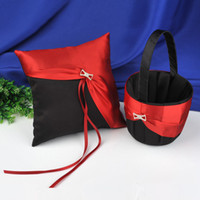 Ring Pillow & Flower Basket Sets   Wedding Favors Wedding Party red with black H diamond Ring Pillows & Flower Baskets Wedding Supplies ring pillow and girl's folwer baskets