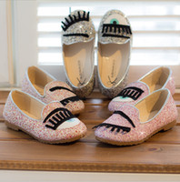 Wholesale 3 colors Big Sizes Girl Fashion Children Eyelash Casual Shoes Girls Spring Autumn Kids Popular Sequins Princess Casual Shoes