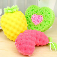 Wholesale Sweet Fruit Scouring Pads Sponges Thick Sponges Washing Cloth Color Dishcloths Household Cleaning Tools SH740