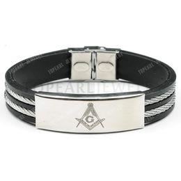 Promotion caoutchouc pression Franc-maçonnerie maçonnique fils en acier inoxydable bracelet en caoutchouc MEB882 de Bijoux de Topearl