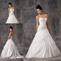 Wholesale Country Garden A Line Wedding Dresses Stain Applique Beaded Sleeveless Zipper Back Draped Floor Length Weston Royal Bridal Gowns DN