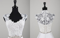 Cheap 2014 New Sexy Ivory Sleeveless Bridal Shrug Bolero Jacket Wedding Bolero Lace Jacket With Queen Anne Neckline Beading At Waist