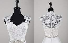 Wholesale 2014 New Sexy Ivory Sleeveless Bridal Shrug Bolero Jacket Wedding Bolero Lace Jacket With Queen Anne Neckline Beading At Waist