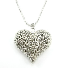Silver Necklaces Love Pierced Heart Pendants retro carved peach heart necklace jewelry free shipping