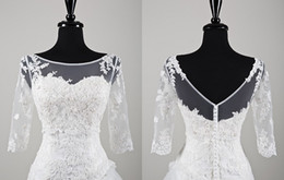 Wholesale Sheer Scoop Neckline Bridal Wraps Sexy V Back three quarter Length Sleeves Applique Lace Wedding Bolero Jacket Party Bridal Gown Wrap