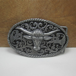 BuckleHome bull head belt buckle western belt buckle with pewter finish FP-03386 with continous stock free shipping