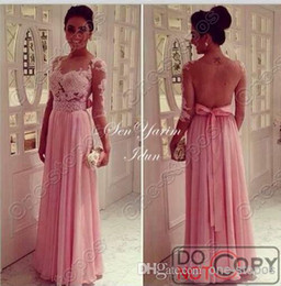 Wholesale 2014 New charming A line chiffon celebrity party dresses applique lace with half long sleeves bateau floor length evening prom gowns BO4840