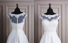 Wholesale Modest Lace Tulle Jackets Bateau Neck Cap Sleeves Unique Design Wedding Bridal Bolero Jackets Bridal Accessories Cheap
