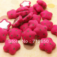 Quilt Accessories Buttons E&F Accessories 16mm Flatback Dots print cloth covered button star-shaped fabric covered buttons ROS 30pcs lot hairbow accessories Free shipping