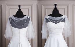 Wholesale Tulle Cowl Neckline Lace Applique At Shoulder Hot Sale Bridal Jacket Wrap White Pretty Jackets Cheap