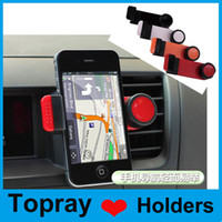 Wholesale Universal degree rotating Car Air Vent Mount Holder Stands for iPhone Samsung GPS MP4 with retail package