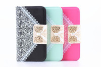 For Samsung Leather  Lace Silk Flower Diamond Bling Bow Buckle Wallet Leather Pouch For Samsung galaxy S5 SV I9600 S4 I9500 credit card Lanyard skin case cover