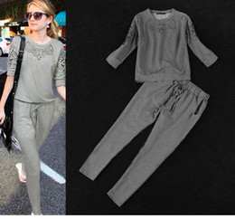 Wholesale 2014 New Women s Sport Suit Casual Clothes T Shirts Pants Pure Color Lace Hollow Out Tracksuit Ladies Costume set