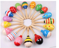 Wholesale Good Quality wood toy sand hammer wooden rattle maracas sand infant musical toy for children early childhood music toy