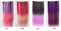 Wholesale 10 wig straight hair gradient hair piece Hair Extensions Ombre Color design