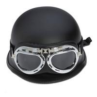 Wholesale WWII Style BLACK German Motorcycle Helmets Half Helmet Chopper Biker Pilot Goggles NEW