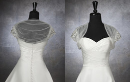 Wholesale Hot Selling Tulle Ruched Bolero Jacket Beaded Cap Sleeves Stunning Bridal Accessories High Quality