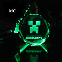 Wholesale Minecraft Led Light Crystal laser micro engraving Key Ring Colors Automatically change colors Gifts for Birthday and Holidays Kids Toy