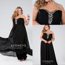 Wholesale Plus Size Custom Made Evening Dresses Black Strapless Sweetheart Floor Length Beads Chiffon Lace Up Evening Prom Dresses Formal Gowns