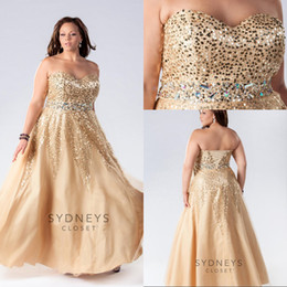 Wholesale Custom made Plus Size Dresses Sweetheart Floor Length Sequined Beads Lace up Hot Plus Gold Evening Prom Dresses Formal Gowns EM02432