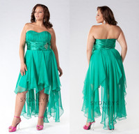 Reference Images asymmetrical homecoming dresses - Custom made Plus Size Dresses Green Sweetheart Asymmetrical Chiffon Plus Prom Homecoming Dresses Formal Gowns EM02433