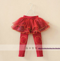 Wholesale Children s Skirt Leggings Autumn winter Girls Clothing Belt yarn gold lace broken beautiful leggings skirts pants Fashion Kids Tutu Culottes