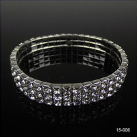 Wedding Bracelets american girl black - Hot Sale Elastic Sliver Plated Crystal Bangle Bridal Bracelets Bracelets Party Jewelry