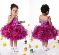 Wholesale Beaded Scoop Purple Red Girls Pageant Dresses For Little Girls Cute Kids Prom Dresses New Arrival Custom Made Cupcake Dresses II27
