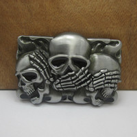 Buckles belt with skulls - BuckleHome skull belt buckle with pewter finish FP with continous stock