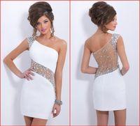 2015 Sexy Back Возвращение платья Белые одно плечо Sheer спинки оболочки Колонка Короткие Хрустальные бусины платье для коктейля вечерние платья