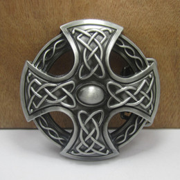 BuckleHome cross belt buckle celtic belt buckle with pewter finish FP-03401 with continous stock free shipping