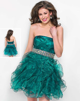 Reference Images Organza Strapless New Sexy Strapless Organza Dark Green Crystal Homecoming Short Prom Dresses Beaded Sash Back to School Party Cocktail Gowns 2014 Custom Wow