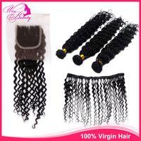 Cheap Brazilian Hair human hair weaves Best Loose Wave Under $100 Top Closure Straight