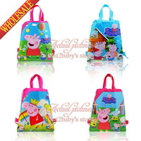 Backpacks 34*27cm Unisex Wholesale - New 2014 Kids gifts 4Style 12Pcs lot Peppa Pig Child Cartoon Drawstring Backpack Bag,Kids School Handbags Non-woven34*27CM