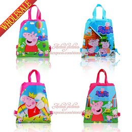 Wholesale mixed Pink Pig kids Cartoon Drawstring Backpack Bag children bags kids school bags with handle Non woven34 CM