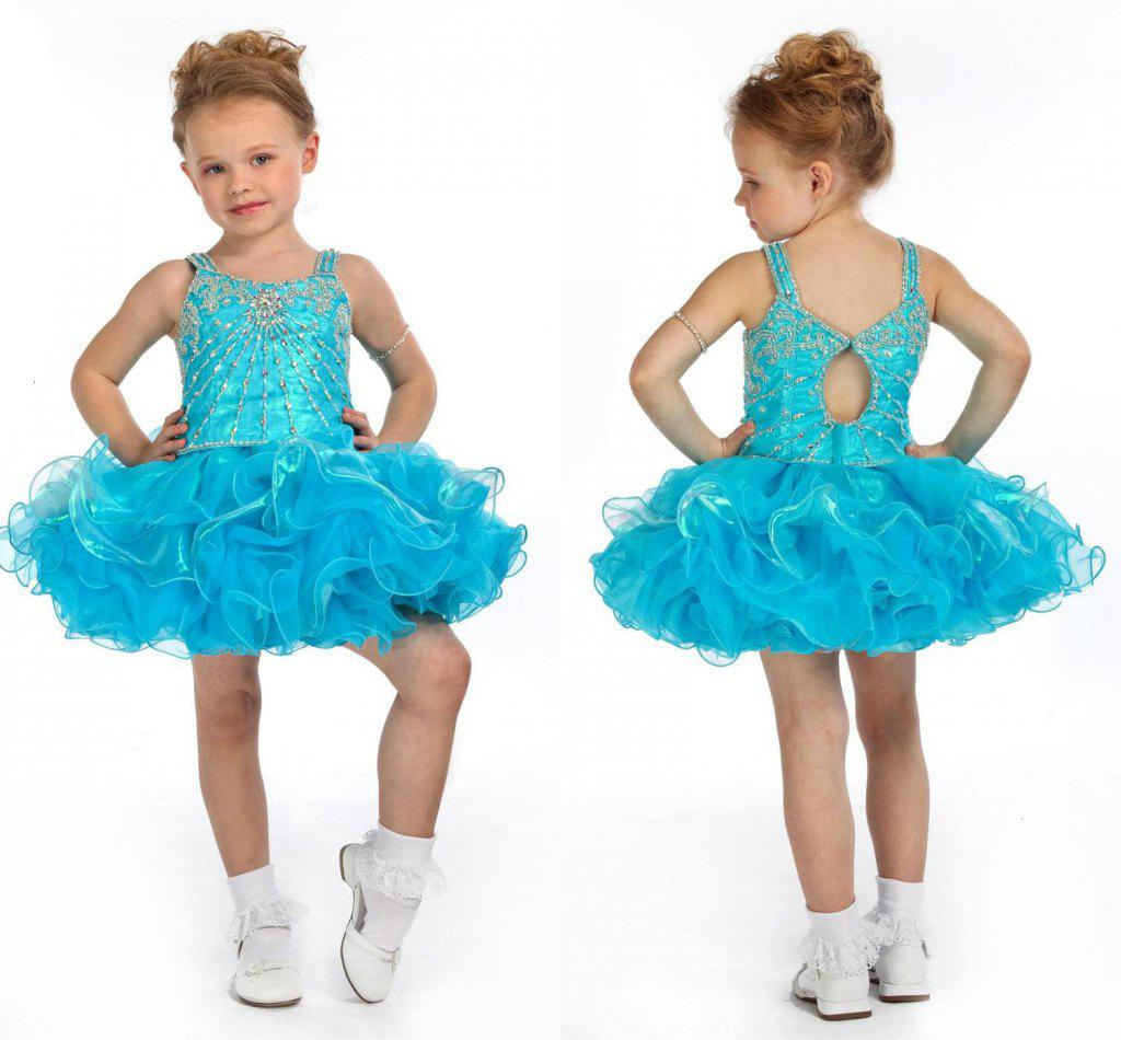 Lovely Blue Little Girls Pageant Dresses Cupcake Cute Prom Dresses ...