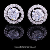 Wholesale Luxury Elegant NEW Crystal sterling Silver White GOLD Crown Wedding Stud Earring for women