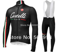 Wholesale 2014 Castelli Cafe cycling clothing jersey cycling thermal bib pants set Castelli thermal ropa ciclismo thermal