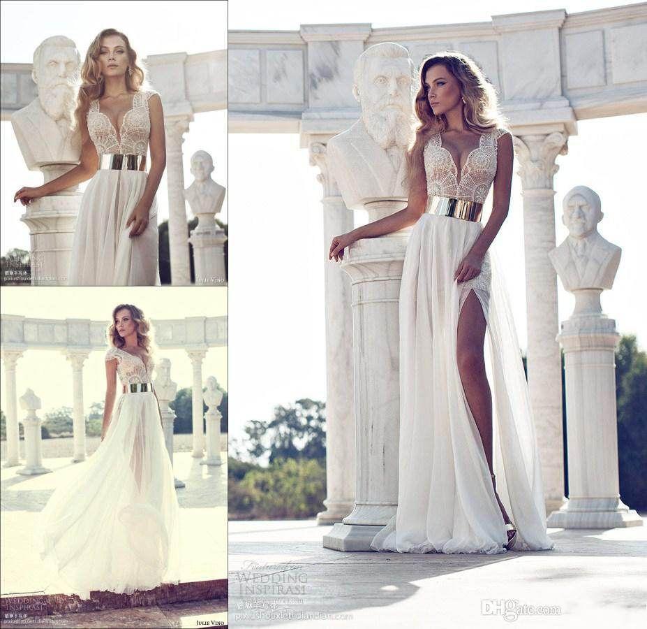 Buy 2014 Julie Vino Fashion Crystal Beaded white Wedding Dresses Deep V-Neck Cap Sleeves Gold Sashes A-Line Side Slit White Chiffon Bridal Gowns